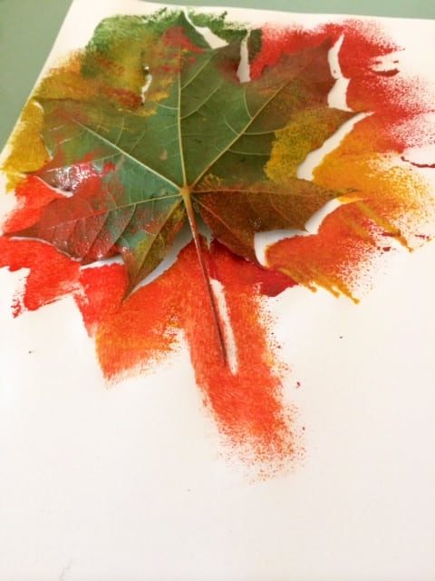 Autumn leaf painting for Leaf crafts for adults