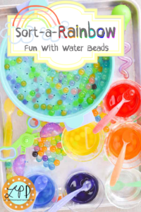 Arty Crafty Kids - 15 Water Bead Sensory Activities - Water Bead Rainbow Sorting Activity