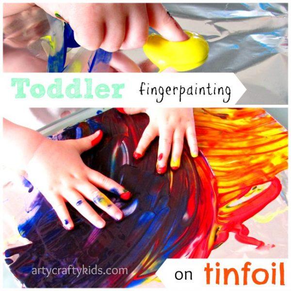 Arty Crafty Kids - Art -Toddler fingerpainting on tinfoil