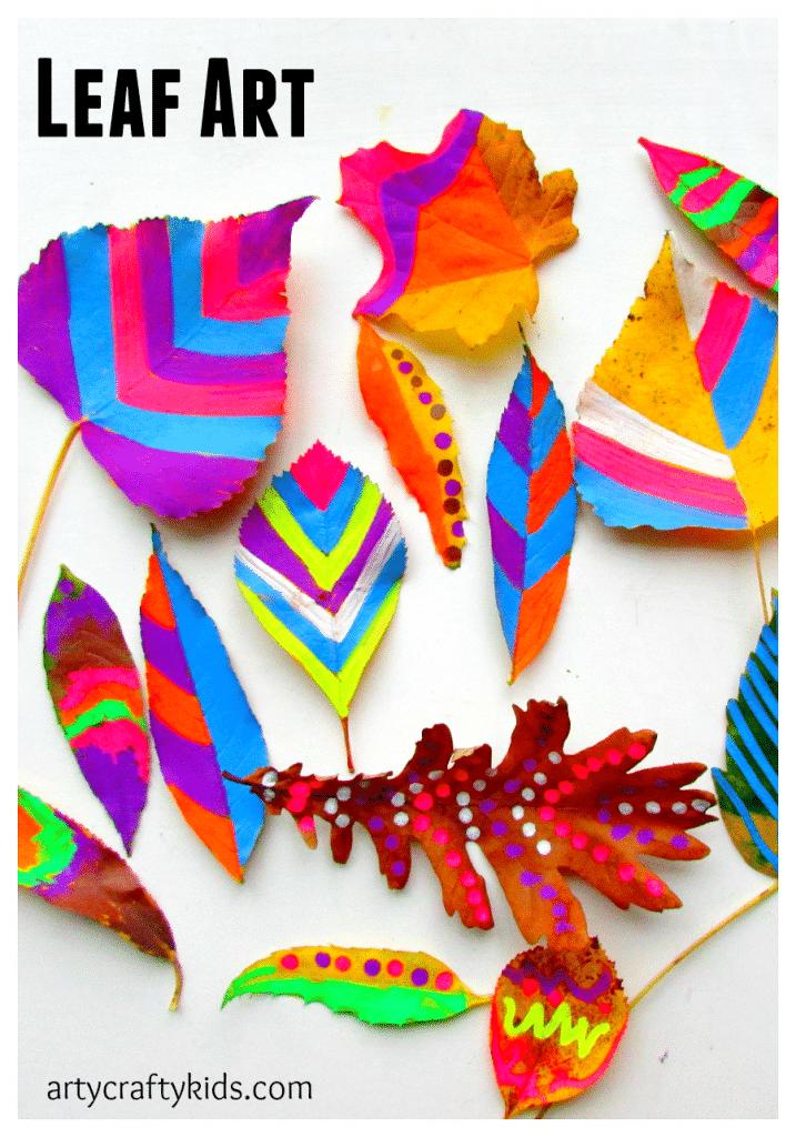 Leaf chalk art for Art designs for kids