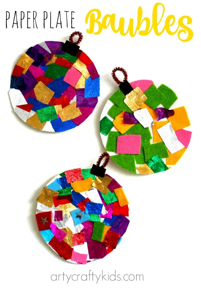 Paper plate baubles for 2 year old christmas ornaments crafts