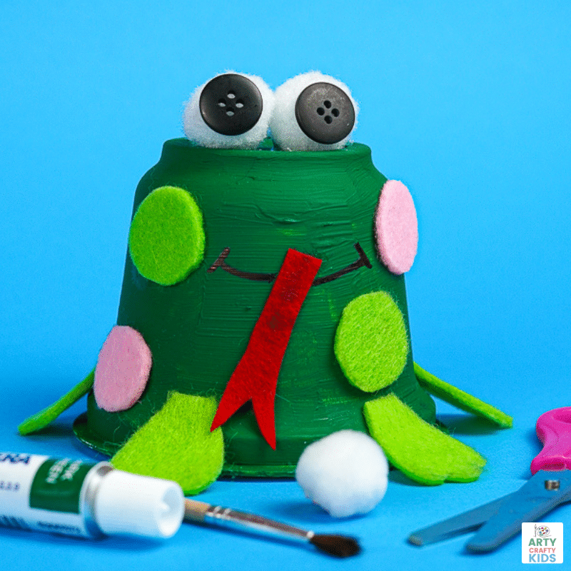 Learn how to make a recycled frog craft with the kids this Spring! Whether it's for a spring themed craft or learning about the life cycle of a frog.