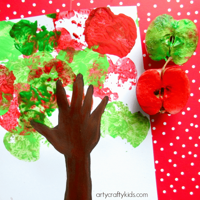 Handprint apple tree arty crafty kids for Craft paint safe for babies