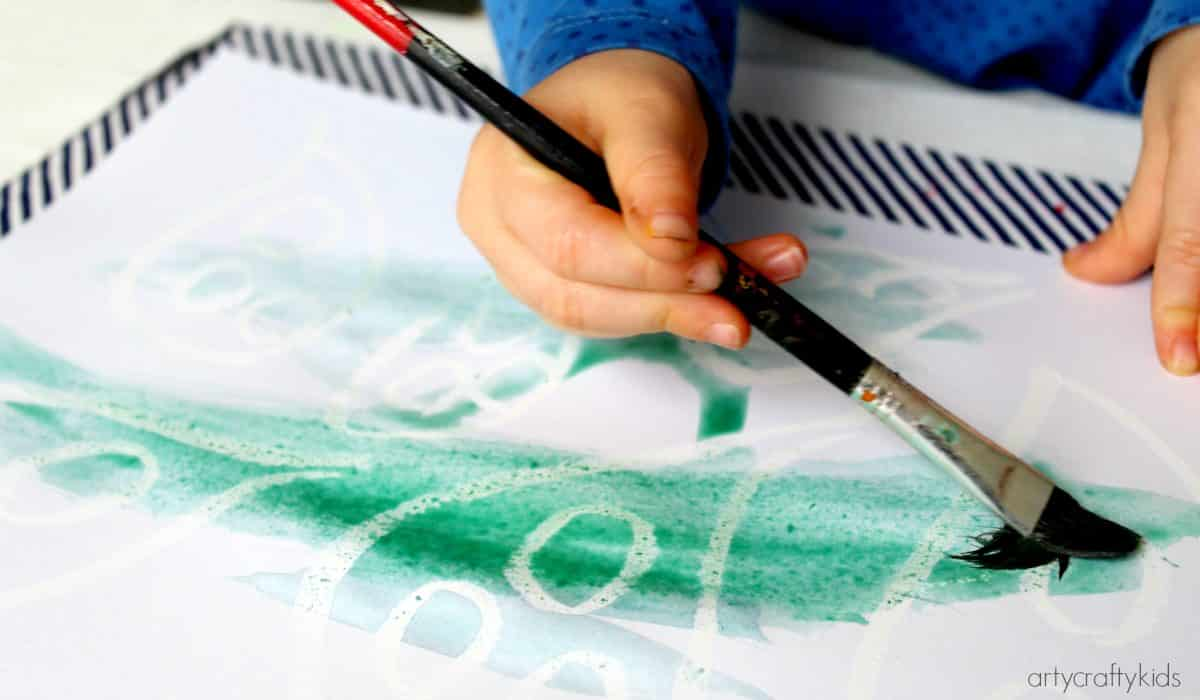 Arty Crafty Kids - Art - Halloween Crafts for Kids - Ghost Reveal Watercolour Resist Kids Ghost Art Project - Painting with watercolour paints