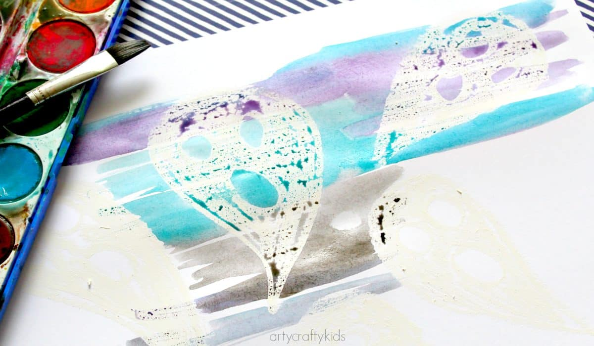 Arty Crafty Kids - Art - Halloween Crafts for Kids - Ghost Reveal Watercolour Resist Kids Ghost Art Project - the non-spooky ghost is revealed