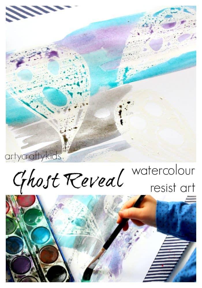 Arty Crafty Kids - Art - Halloween Crafts for Kids - Ghost Reveal Watercolour Resist Kids Art Project
