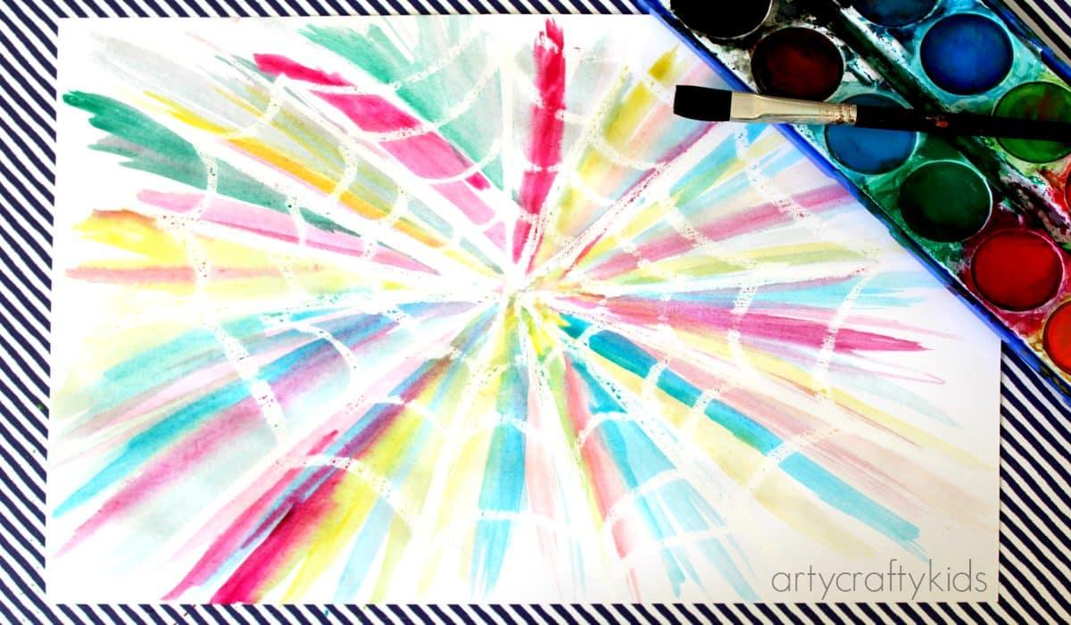 Oil Pastel Resist Spider Web Arty Crafty Kids