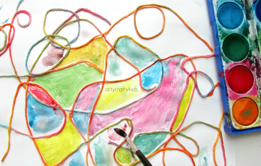 Watercolour Yarn Kids Process Art Arty Crafty Kids