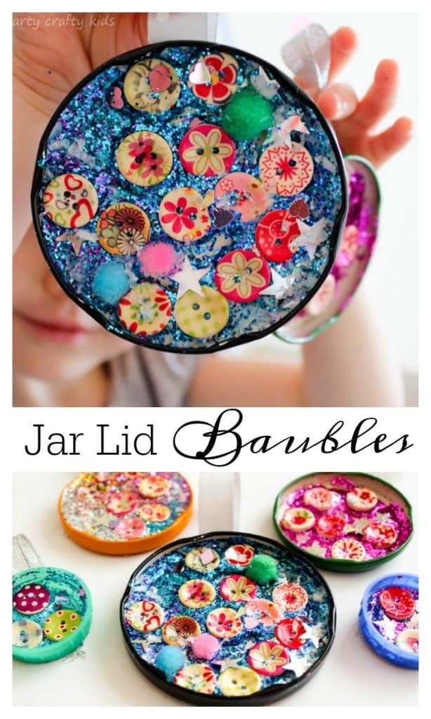 Jar Lid Baubles Easy Christmas Craft for Kids - Arty CraftyKids