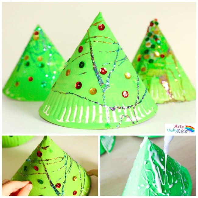 543e91f30da4c Super Fun 3d Paper Plate Christmas Tree Craft