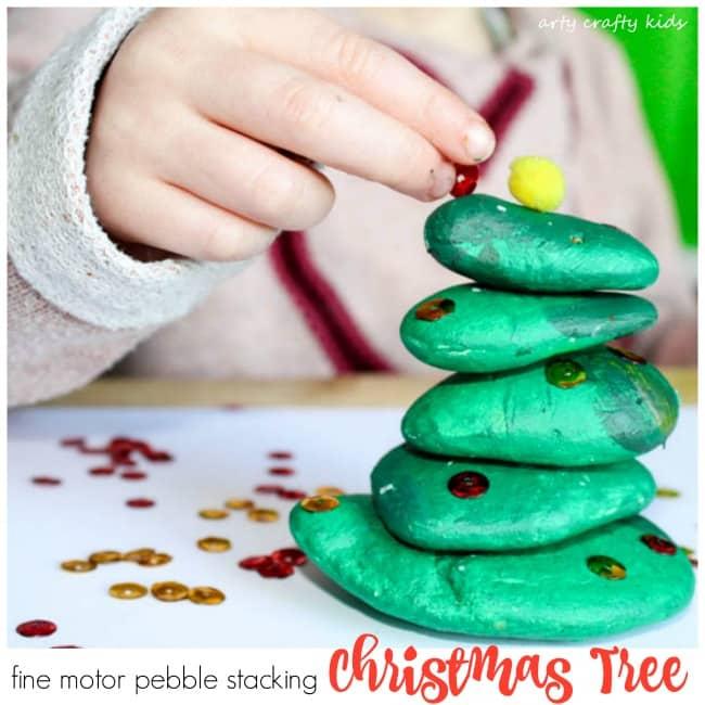 Arty Crafty Kids | Play | Fine Motor Pebble Stacking Chrismas Tree