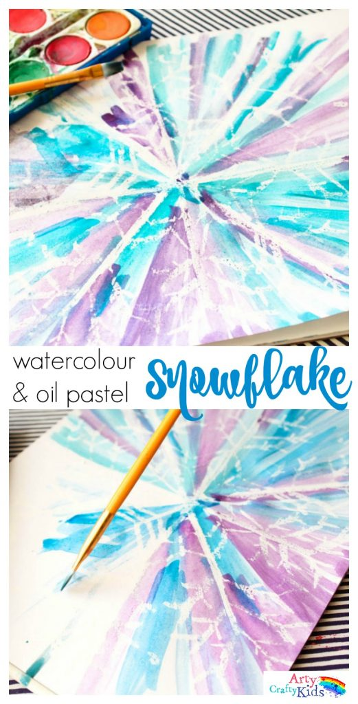 Art And Craft Activities For Kids: Watercolour And Oil Pastel Resist Snowflake