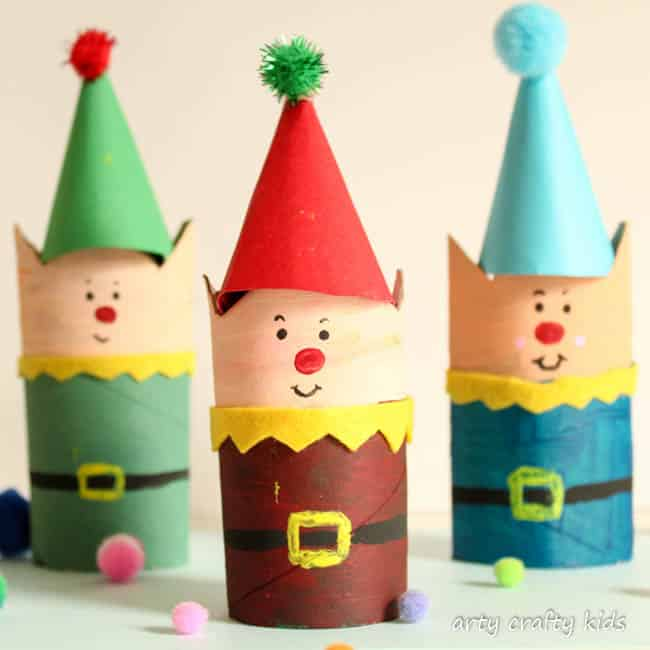Cardboard Tube Christmas Elf Craft - Arty Crafty Kids