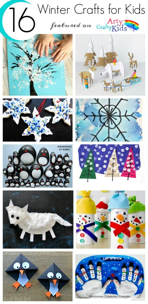 16 Easy Winter Kids Crafts for Kids. Choose from a selection of Winter animals, to snowy Winter trees and gorgeous snowflake art projects for kids to make this season.