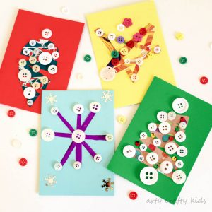 Arty Crafty Kids - Seasonal - Scrap paper and Button DIY Christmas Card