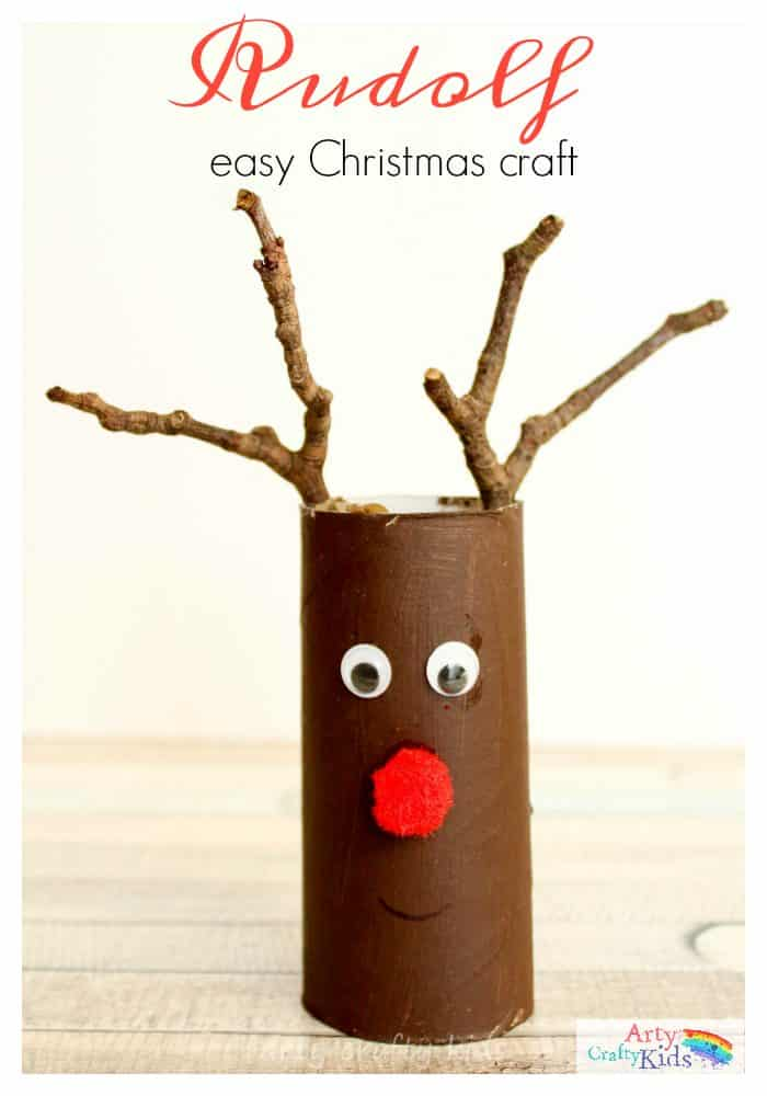 Easy Paper Roll Rudolph Christmas Craft | Arty Crafty Kids