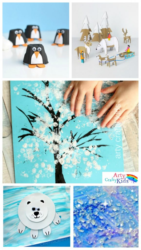 Easy Winter Crafts for Kids Ideas | Cute Snowmen, Polar Bear and Fingerprinting Art