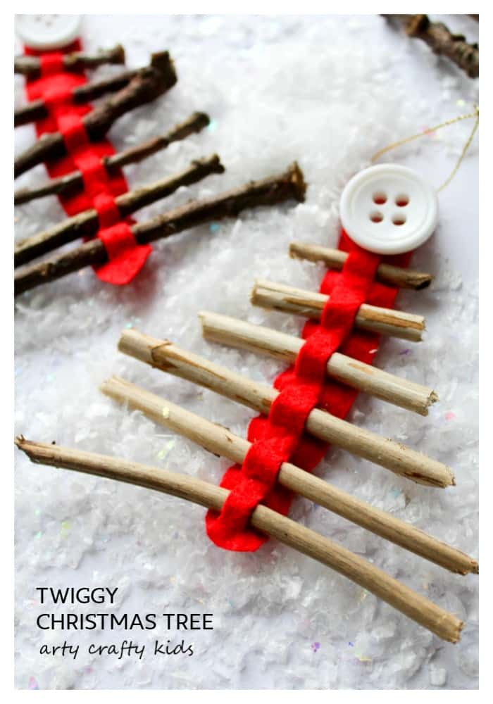 Arty Crafty Kids | Seasonal | Christmas Nature Craft | Rustic Twig Christmas Tree Ornament | Our rustic Twig Christmas Tree Ornament is kid-made and inspired by Julia Donaldson's Stick Man. An easy Christmas craft for kids, that's great fine motor practice.