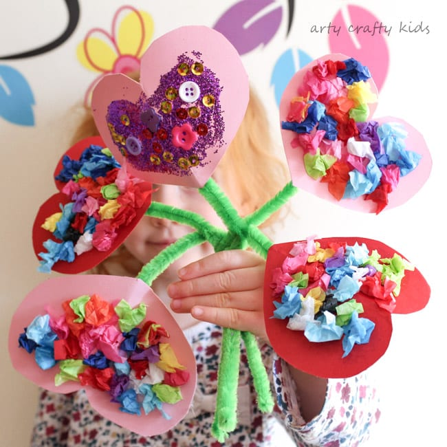 Toddler Valentines Heart Bouquet Arty Crafty Kids