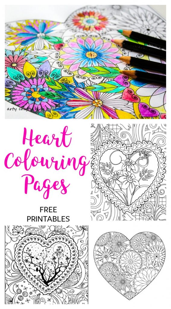 Arty Crafty Kids | Colouring Pages | Hearts | Heart Coloring Pages | Free Heart coloring pages for adults and kids! Color to your hearts content with these gorgeous, detailed designs. As a fun added extra, our coloring pages can be downloaded as a foldable card - perfect for Valentine's Day!