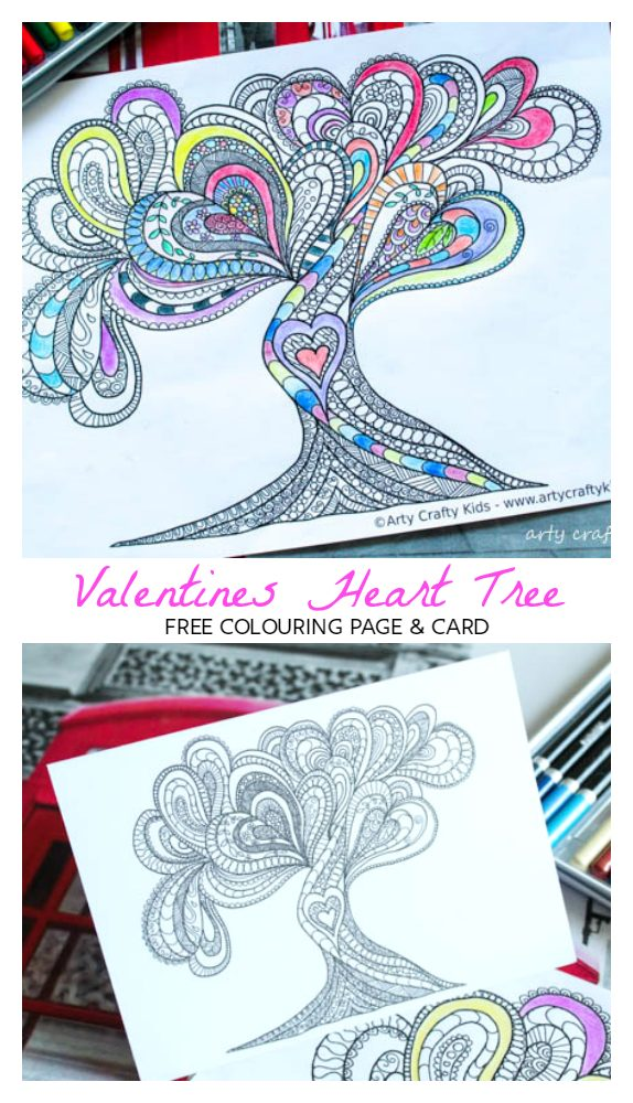 Arty Crafty Kids | Coloring Page | Valentines Love Tree Coloring Page | Beautiful Valentines Tree of Love Coloring Page for adults, filled with detailed flowing hearts