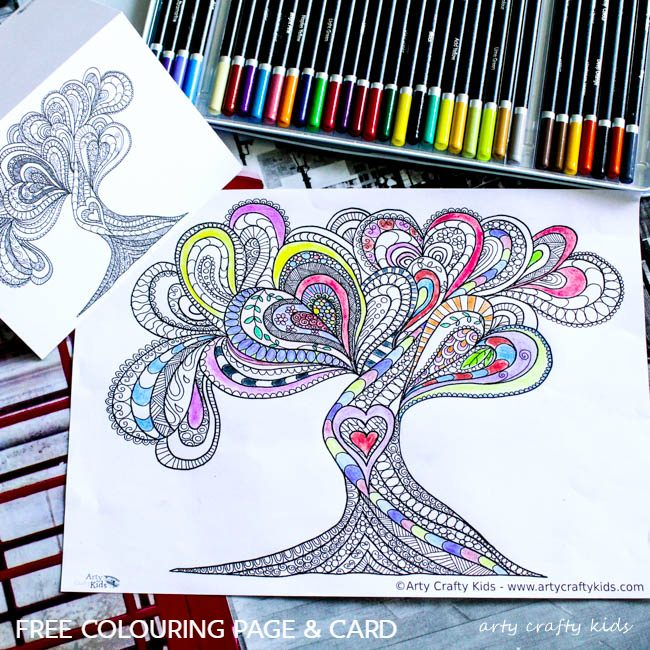 Arty Crafty Kids   Coloring Page   Valentines Love Tree   Beautiful Valentines Tree of Love Coloring Page for adults, filled with detailed flowing hearts