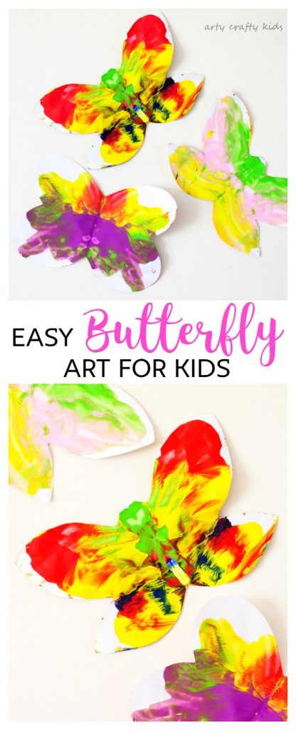 Arty Crafty Kids   Art   Easy Butterfly Kids Art   Arty Crafty Kids   Art   Easy Butterfly Kids Art   A butterfly twist on a classic process art project for kids. Sweet and simple for toddlers and preschoolers, a perfect Spring Craft for Kids