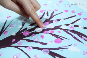 Arty Crafty Kids | Art | Spring Crafts for Kids | Finger Print Spring Blossom Tree