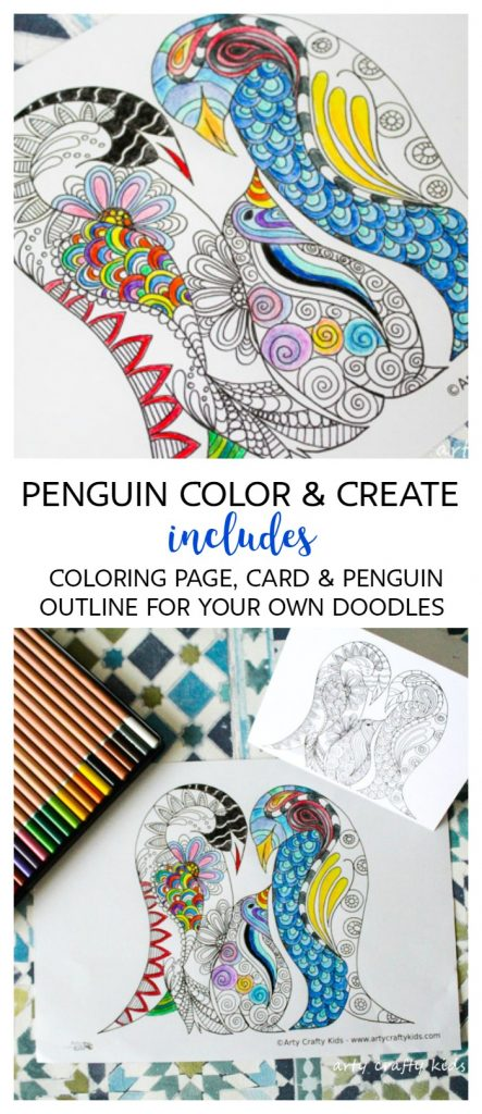 Arty Crafty Kids | Coloring Pages | Penguin Color and Create Page | Free Penguin coloring page, penguin greetings card and a penguin outline for your to create your own doodle coloring page