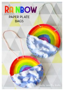 Arty Crafty Kids | Book Club | Craft Ideas for Kids | Rainbow Paper Plate Bag | A fun Rainbow themed craft for kids, where kids can store notes, pens and pencils in their very own Rainbow Bag!