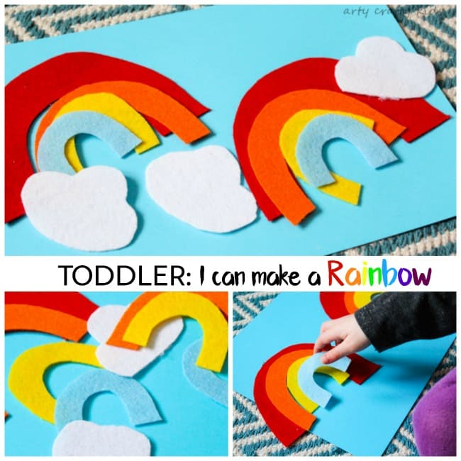 Arty Crafty Kids | Play | Toddler Rainbow Activity | Toddlers will have fun creating pictures and building their own simple rainbows. A great little colour identification and sequencing activity for toddlers.