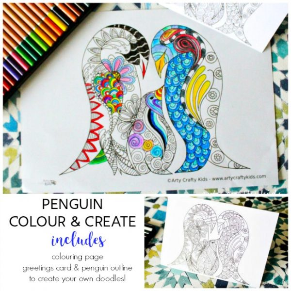 Arty Crafty Kids | Coloring Pages | Penguin Colour and Create Pages | Free Penguin coloring page, penguin greetings card and a penguin outline for your to create your own doodle coloring page