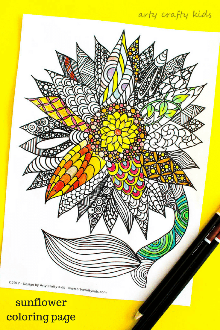 Arty Crafty Kids | Coloring Pages | Sunflower Coloring Page ...