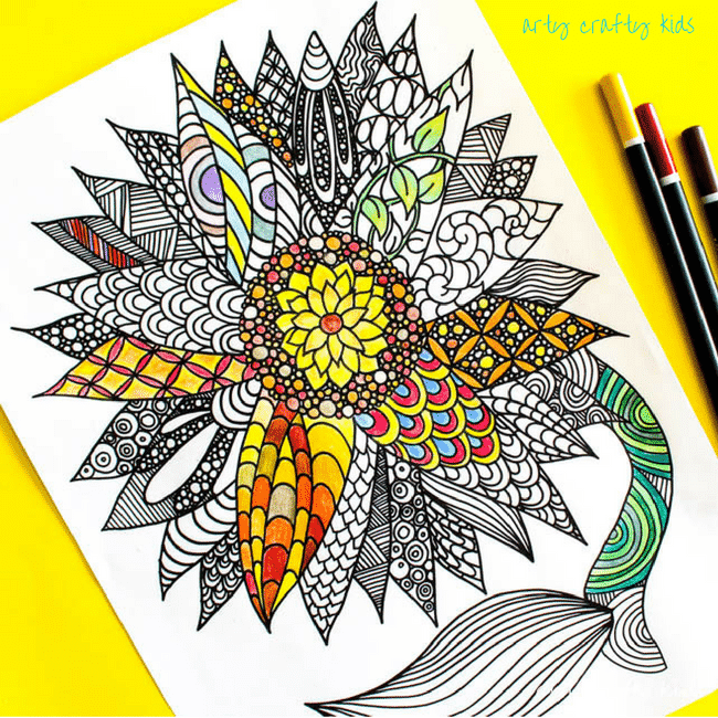 Arty Crafty Kids | Coloring Pages | Sunflower Coloring Page | Beautiful and detailed sunflower coloring page for adults and kids