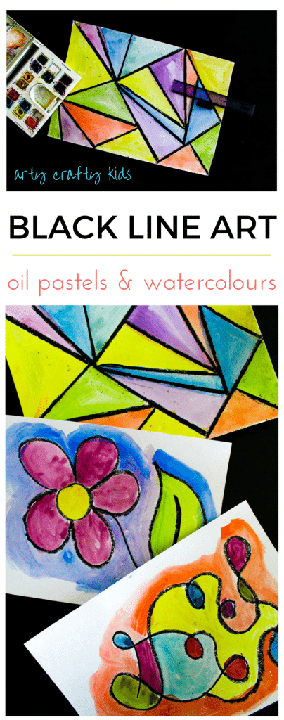 Arty Crafty Kids | Art | Black Line Exploration Art | A fun and engaging process art idea for kids to explore geometric shapes and lines.