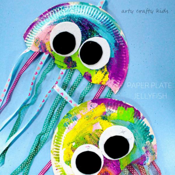 paper plate jellyfish craft arty crafty kids