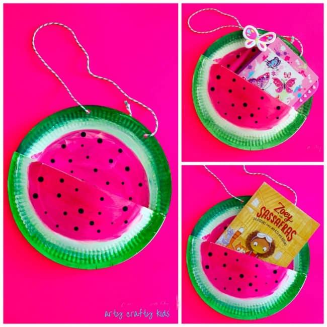 Paper Plate Watermelon Book Bag