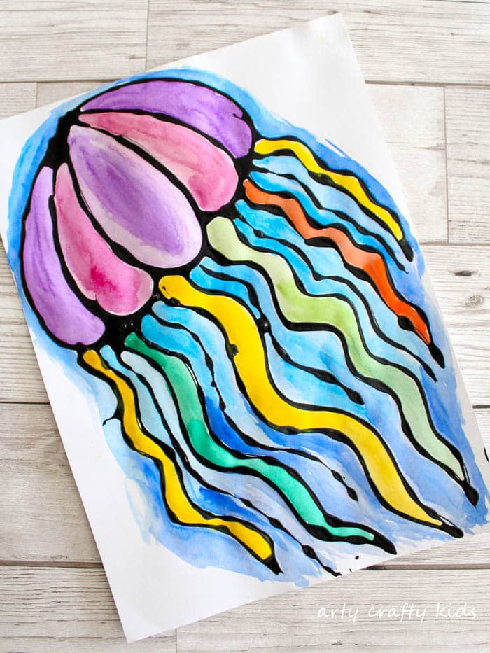 Arty Crafty Kids | Art | Black Glue Jellyfish Art | A fun under the sea art project for kids using black glue resist and watercolours to create a gorgeous Jellyfish