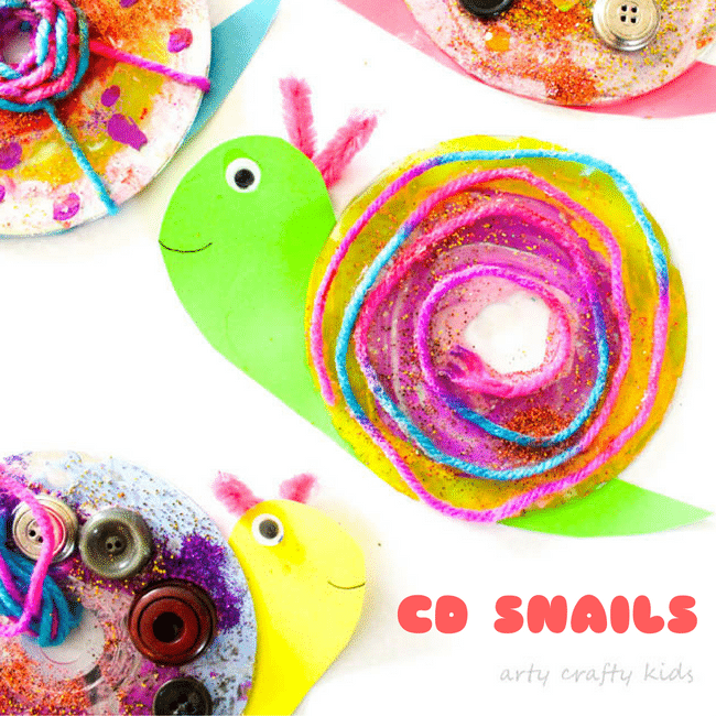 Easy CD Snail Craft | Arty Crafty Kids