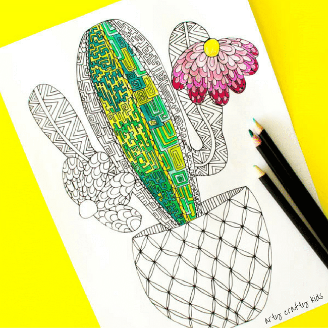 Cactus Coloring Page Arty Crafty