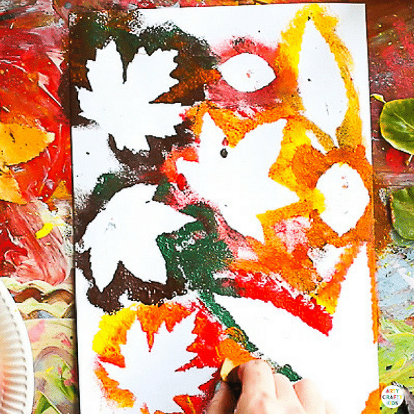 Art Ideas With Leaves: Autumn Leaf Painting