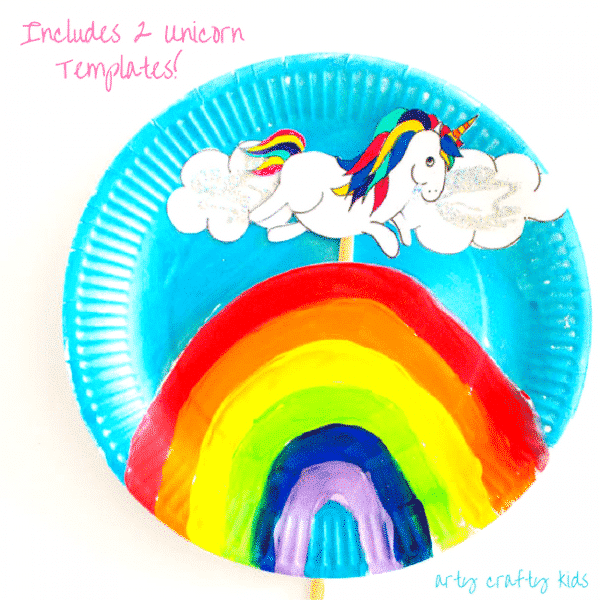 Over the Rainbow Paper Plate Unicorn Puppets