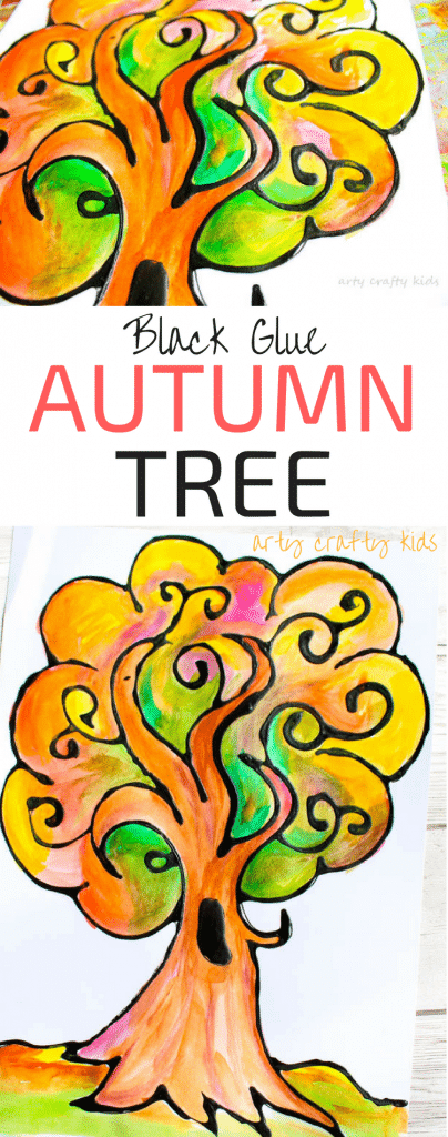 Arty Crafty Kids | Art | Autumn Crafts for Kids | Black Glue Autumn Tree Art | A beautiful Autumn art project for kids that explores autumn colors within a black glue resist medium. #Autumncraftsforkids #kidscrafts #falltrees #easyartideas