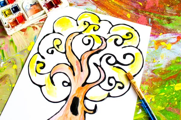 Arty Crafty Kids   Art   Autumn Crafts for Kids   Black Glue Autumn Tree Art   A beautiful Autumn art project for kids that explores autumn colors within a black glue resist medium. #Autumncraftsforkids #kidscrafts #falltrees #easyartideas
