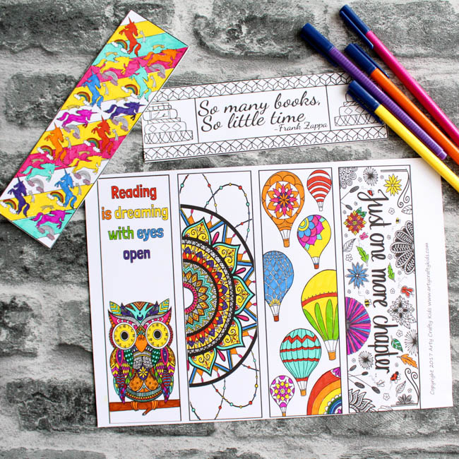 Beautiful Coloring Bookmarks | Arty Crafty Kids