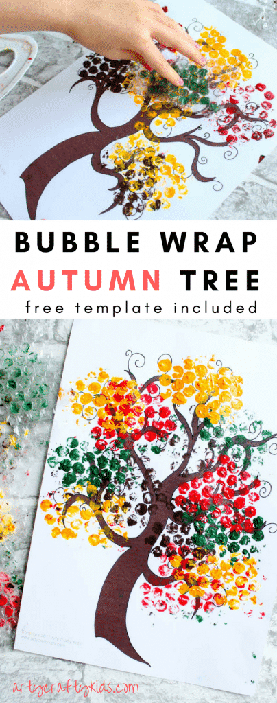 Bubble Wrap Autumn Tree Craft | Arty Crafty Kids