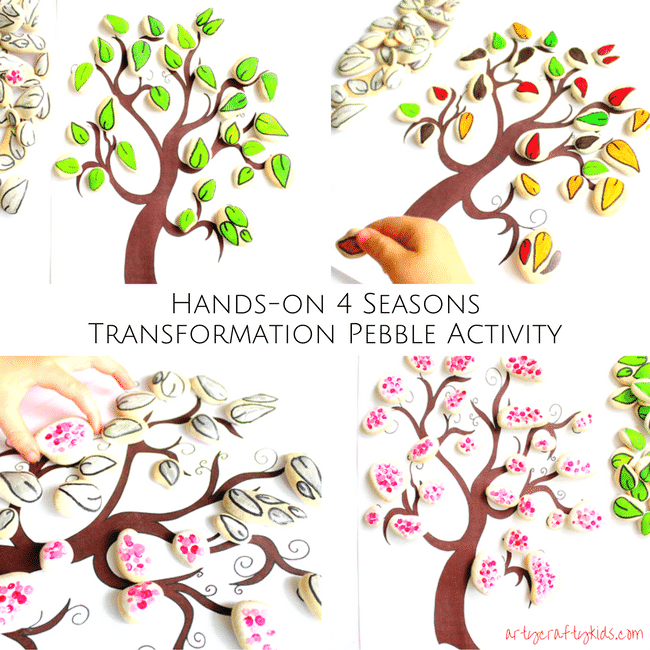 Arty Crafty Kids | Seasonal | Four Seasons Transformation Rock Game | A fun seasonal play and learning activity for kids. Position the rocks onto the tree and turns the rocks to change the season