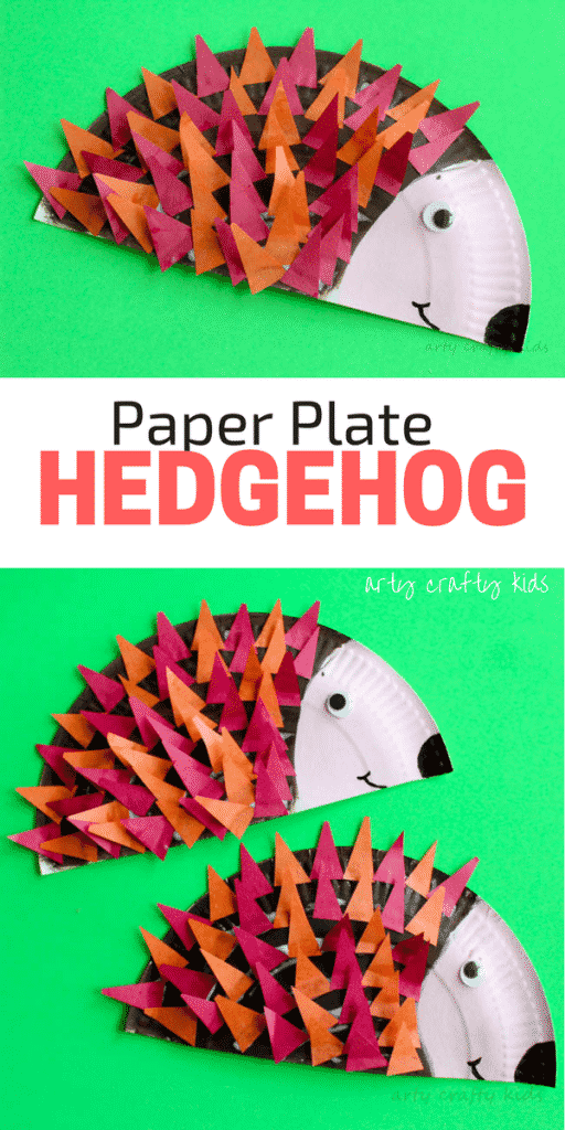 Arty Crafty Kids | Craft | Paper Plate Hedgehog Craft | Super cute Hedgehog craft for kids. Perfect for Autumn crafting and woodland animal topic at preschool. #animalcraft #kidscraft