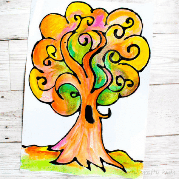 Arty Crafty Kids   Art   Autumn Crafts for Kids   Black Glue Autumn Tree   A beautiful Autumn art project for kids that explores autumn colors within a black glue resist medium. #Autumncraftsforkids #kidscrafts #falltrees #easyartideas