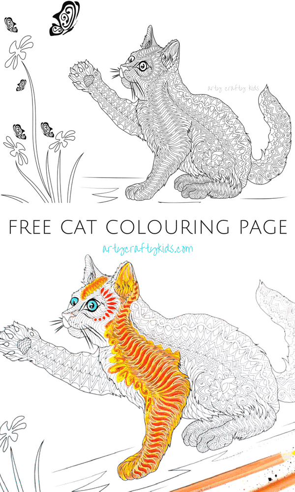 Free Cat Coloring Page Arty Crafty Kids